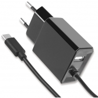 Caricatore USB-C con uscita USB A e Spina Europea 2 pin Nero