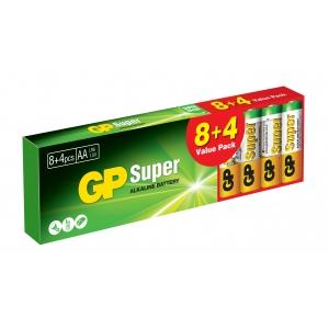 Confezione 12 Batterie GP Super Alcaline Stilo AA GP15A8/LR6