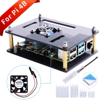 Raspberry Pi Brown Single Layer Acrylic Case with Fan (Support P