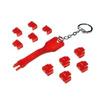 Blocca porte RJ45 rosso 10 serrature e 1 chiave
