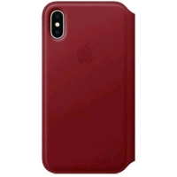 APPLE iPHONE X FLIP COVER CUSTODIA ORIGINALE IN PELLE RED