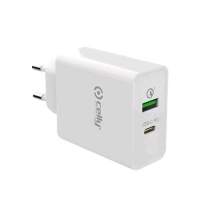 CELLY PROPOWER CARICABATTERIE 1xUSB-A 1xUSB-C 18W BIANCO