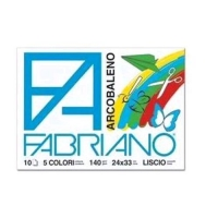FABRIANO ARCOBALENO ALBUM LISCIO 240X330mm 10 FOGLI COL. ASSORTI